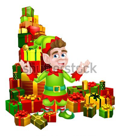 Woman Santa on stack of gifts Stock photo © Krisdog