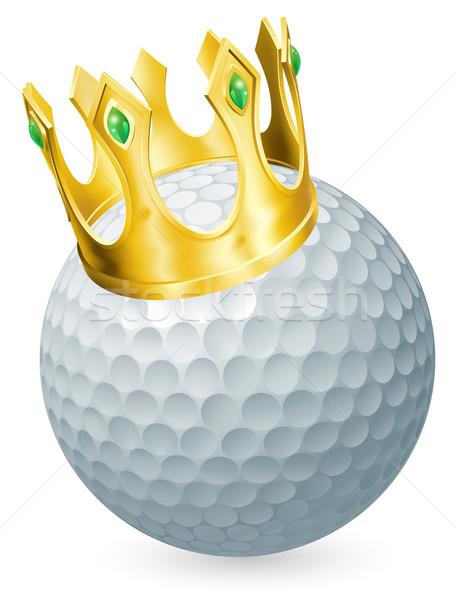 Rei golfe golfball ouro coroa Foto stock © Krisdog