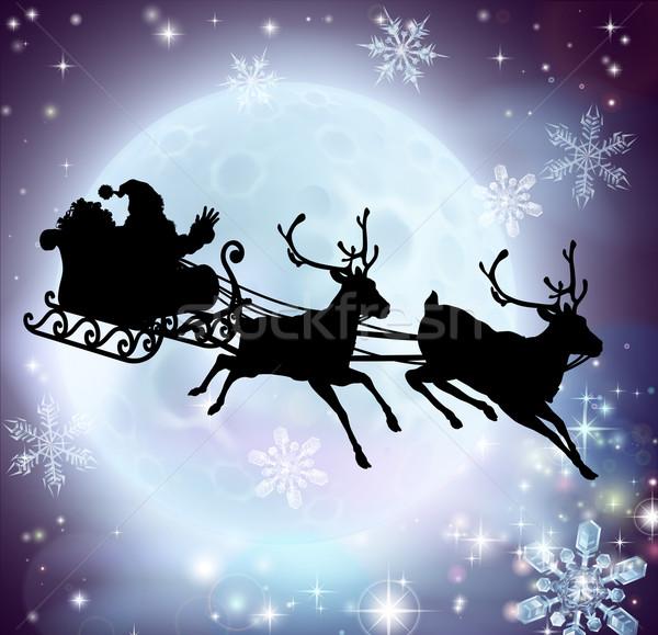 Santa moon sleigh silhouette Stock photo © Krisdog