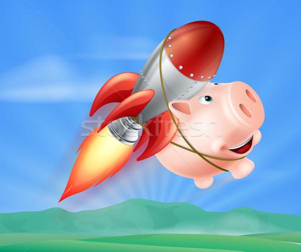 Vliegen raket spaarvarken illustratie Maakt een reservekopie lucht Stockfoto © Krisdog