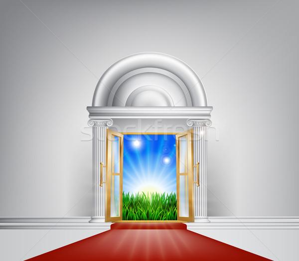 Red carpet nature door Stock photo © Krisdog