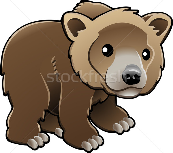 Cute Grizzly Brown Bear Vector Illustration Stock photo © Krisdog