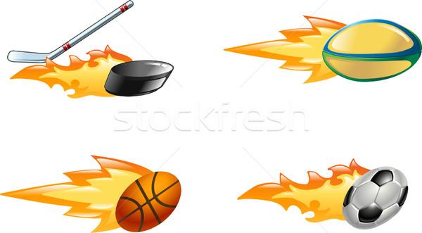 Parlak yanan spor simgeler parlak Stok fotoğraf © Krisdog