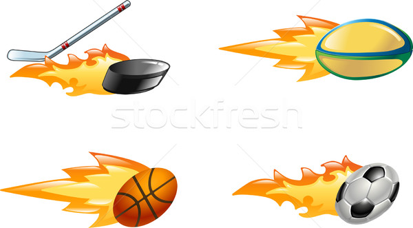 Shiny flaming sport icons Stock photo © Krisdog