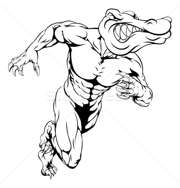 Alligator or crocodile mascot running Stock photo © Krisdog