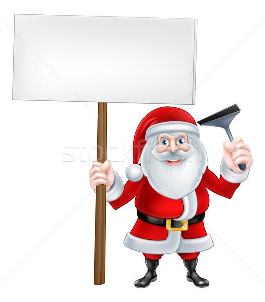 Assinar natal desenho animado ilustração limpador de janelas Foto stock © Krisdog