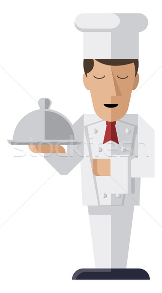 Chef holding serving platter Stock photo © Krisdog
