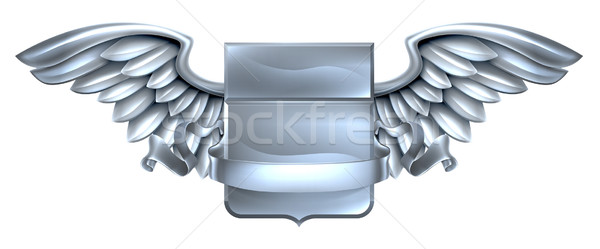 Stock photo: Silver Winged Shield Scroll Design
