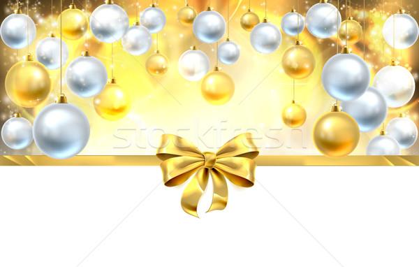 Bow and Baubles Christmas Background Stock photo © Krisdog