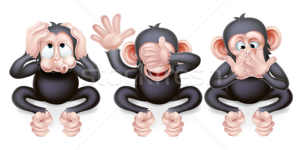 Hear no evil see no evil speak no evil monkeys Stock photo © Krisdog