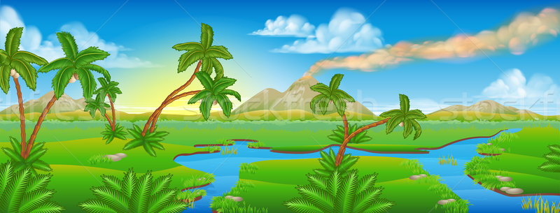 Cartoon Prehistoric Background Scene Landscape Stock photo © Krisdog