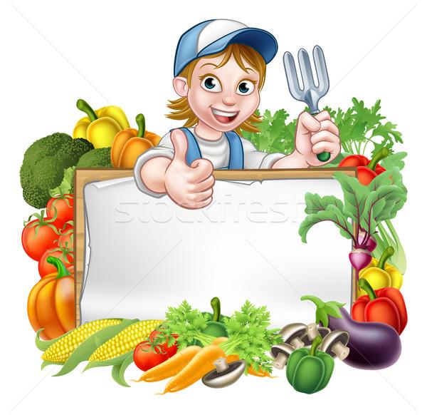 Woman Gardener Vegetables Sign Stock photo © Krisdog