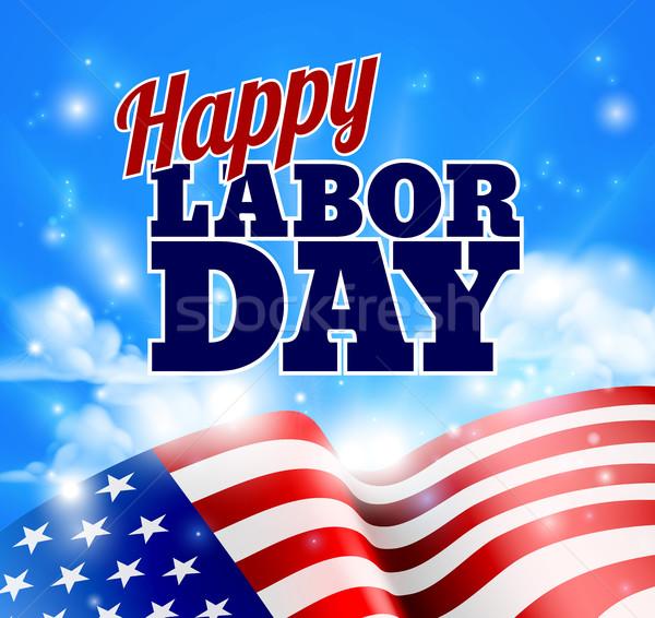Glücklich Geburtswehen Tag Design amerikanische Flagge Himmel Stock foto © Krisdog