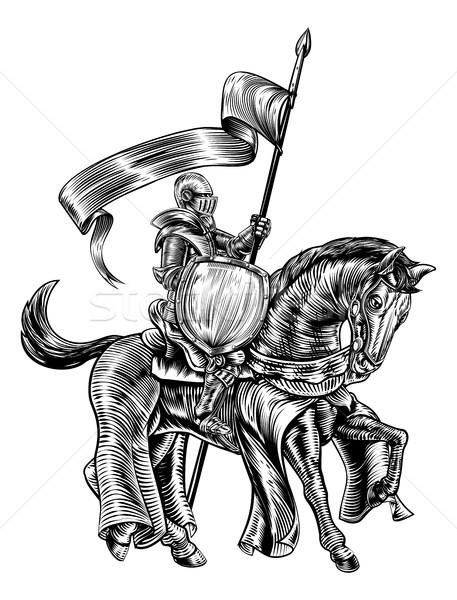 Knight on Horse Vintage Woodcut Engraving Stock photo © Krisdog