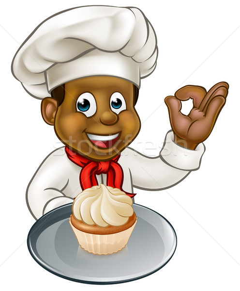 Cartoon Pastry Chef Baker With Fairy Cake  Stock photo © Krisdog