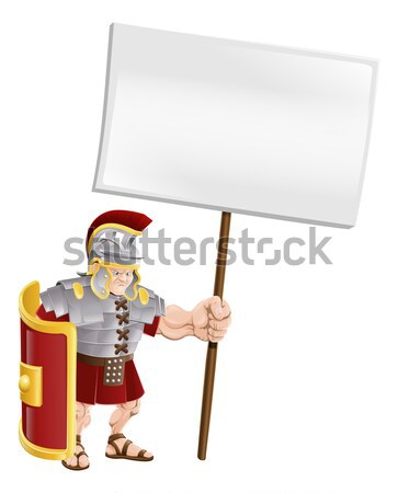 Stock photo: Tough Spartan or Trojan holding sign board