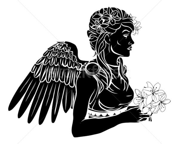 Anioł kobieta ilustracja czarny tatuaż kwiaty Zdjęcia stock © Krisdog