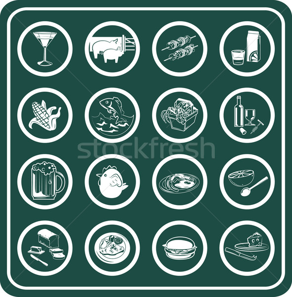 A set of food and drink icons Stock photo © Krisdog