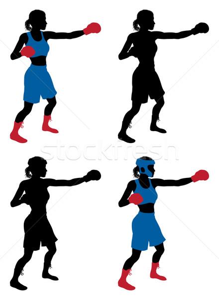 Női boxoló box illusztráció nő edz Stock fotó © Krisdog
