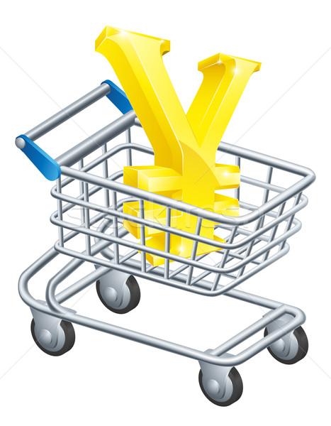 Jen ceny waluta podpisania supermarket koszyk Zdjęcia stock © Krisdog