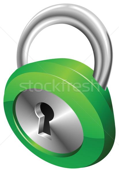 Brillant vert sécurité cadenas argent Photo stock © Krisdog