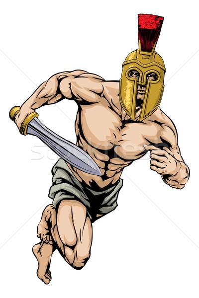 Foto stock: Trojan · casco · guerrero · ilustración · gladiador · carácter