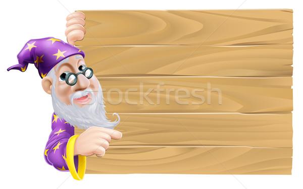 Wizard and blank wooden sign Stock photo © Krisdog