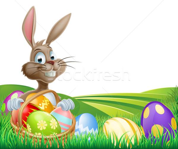 Easter Bunny and Hamper Stock photo © Krisdog