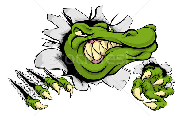 Crocodile or alligator smashing through wall Stock photo © Krisdog