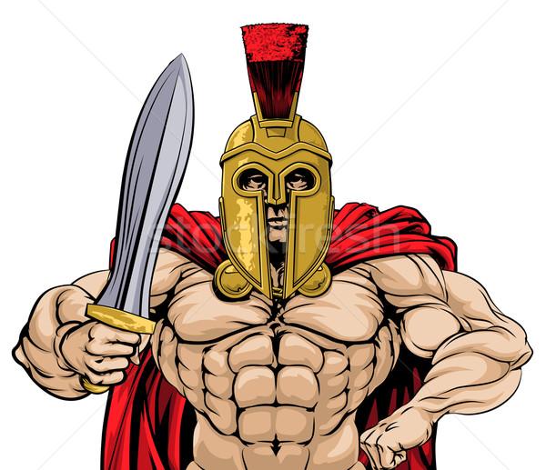 Gladiador ilustração antigo grego troiano romano Foto stock © Krisdog