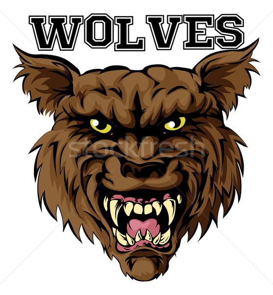 ストックフォト: オオカミ · スポーツ · マスコット · 実例 · オオカミ · 頭