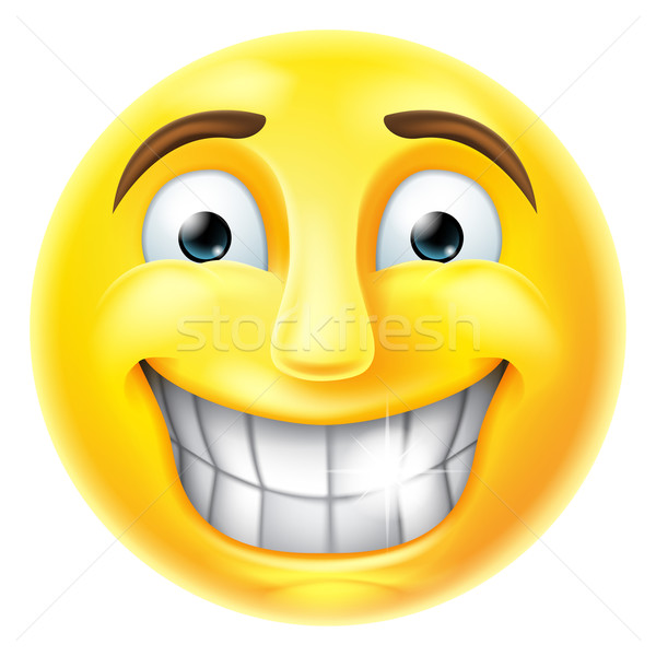 Nervous Smile Emoji Emoticon Stock photo © Krisdog