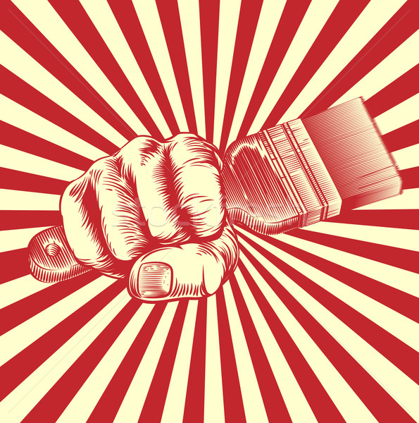 Propaganda Woodcut Paintbrush Fist Hand Stock photo © Krisdog