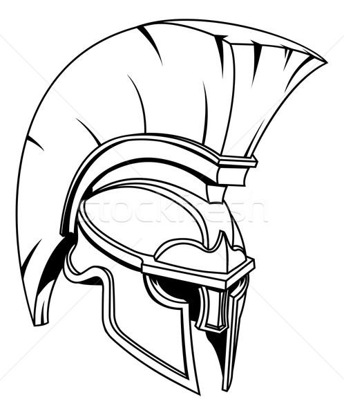 Spartan trojan gladiator casque romaine grec Photo stock © Krisdog