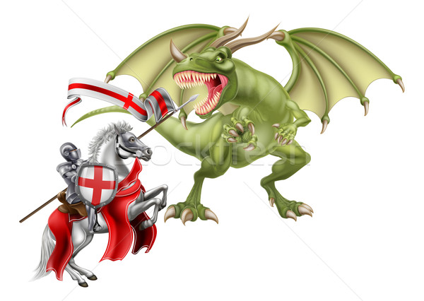 Saint George Fighting the Dragon Stock photo © Krisdog