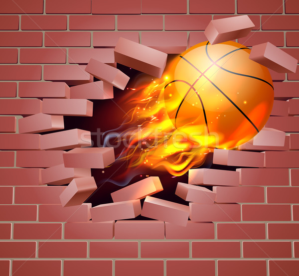 Flaming Basketball Ball Breaking Through Brick Wall Stock photo © Krisdog