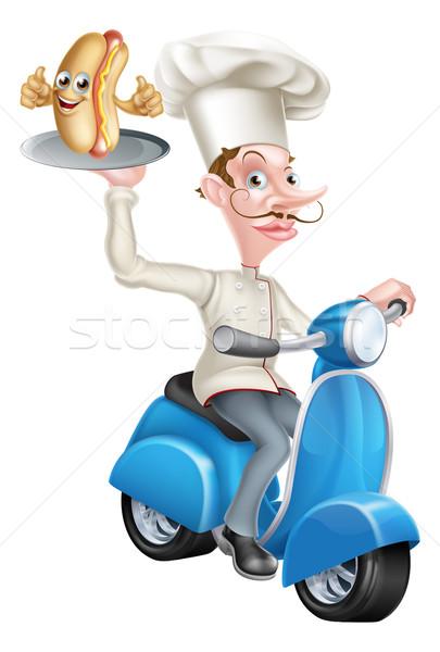Cartoon Chef on Scooter Moped Delivering Hotdog Stock photo © Krisdog