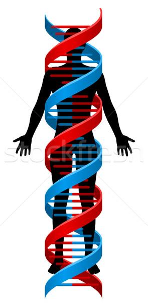 Person and Double Helix DNA Chromosome Strand Stock photo © Krisdog
