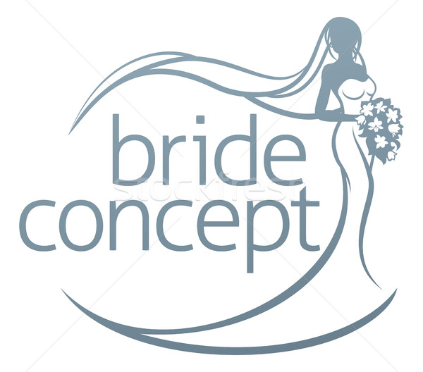 Bride Silhouette Holding Bouquet Concept Stock photo © Krisdog
