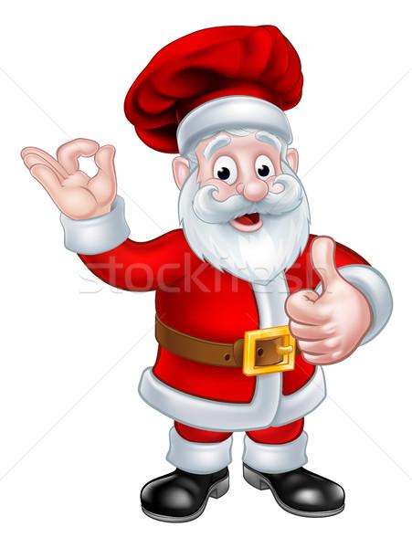 Santa Chef Christmas Cartoon Character Stock photo © Krisdog
