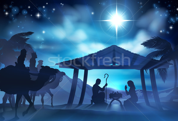 Nativity Scene With Three Wise Men Stock photo © Krisdog