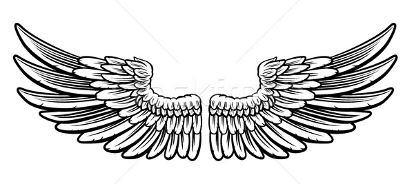 Pair of Etched Wings Stock photo © Krisdog