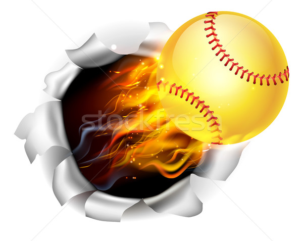 Flaming Softball Ball Tearing a Hole in the Background Stock photo © Krisdog