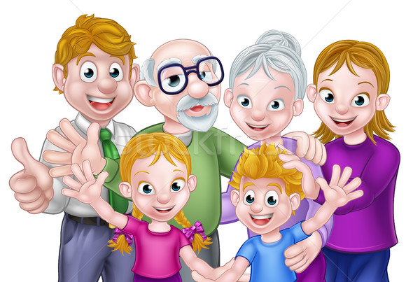 Cartoon enfants parents grands-parents heureux trois Photo stock © Krisdog