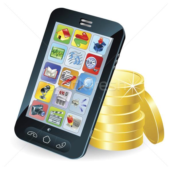 Stock fotó: Okostelefon · érmék · illusztráció · modern · mobil · számítógép