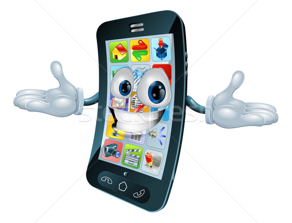 Stockfoto: Mobiele · telefoon · man · mascotte · karakter · cartoon · illustratie