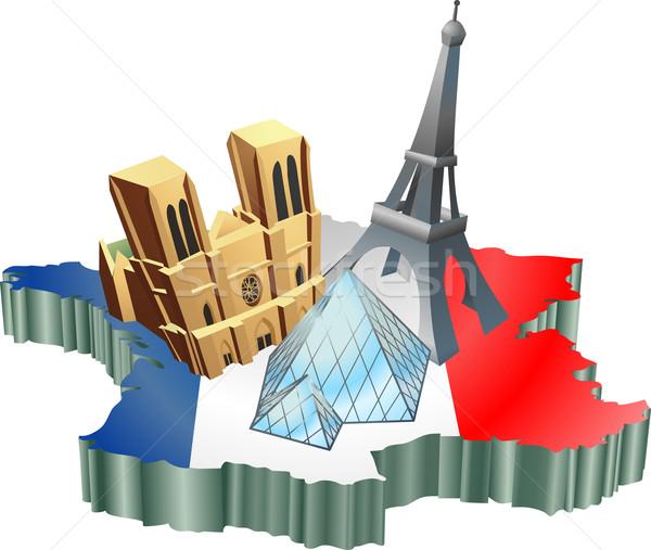 французский туризма иллюстрация туристических Франция карта Сток-фото © Krisdog