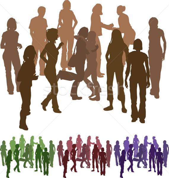 Groep vrienden silhouet illustratie compleet apart Stockfoto © Krisdog