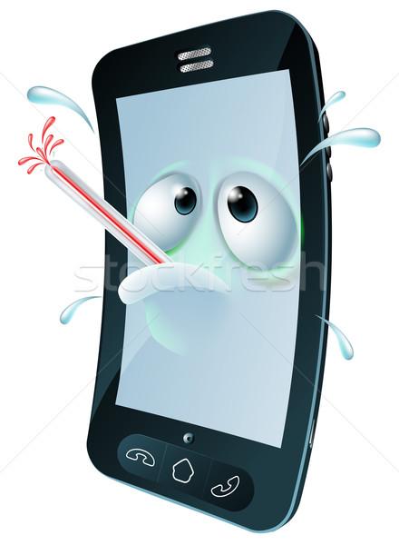 Desenho animado quebrado telefone móvel indisposto mascote Foto stock © Krisdog
