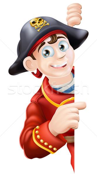 Stock photo: Cartoon pirate pointing
